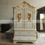 Antique Reproduction White Painted Wardrobes With Angel Carved Detail