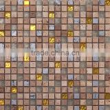 JTC-1306 Popular in dubai mosaic tiles Travertine stone mix gold and silver glass sheet mosaic