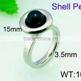 2015 new design for girls cool black shell pearl rings stainless steel ring