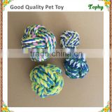 Pet premium mixing color soft cotton rope dog toy dog fetch ball with different size