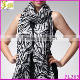New Women Fashion Black White Chiffon Zebra Striped Print Scarf Shawl