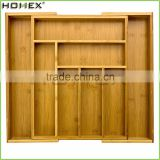 Expandable Bamboo Drawer Organizer/Eco-Friendly Cutlery Flatware Tray in Drawer/Homex_FSC/BSCI Factory