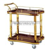 Guangzhou BHL Hotel Articles Roman Pillar Double-deck Golden hotel brass bar cart gold bar cart serving trolley