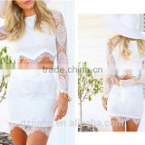 Summer Two Pieces Beach Style White and Black Sheath Bodycon Women Sexy Party Short Mini Lace Dresses