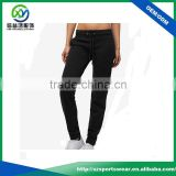 Latest design custom made black color women elastic waist band jogger pants, gym pants fitness