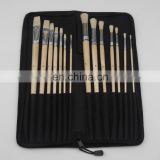 14-Piece Long Handle Bristle Hair Artist Paint Brush Set in Nylon Bag