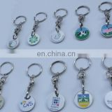 wholesale custom trolley coin factory , new product custom shape double side trolley coin keyring, shipping cart key ring