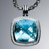 Sterling Silver DY Inspired 20mm Blue Topaz Albion Enhancer Pendant