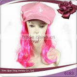 Fashion lady's pink fake hair wig attached hats