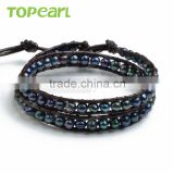 Topearl Jewelry Potato Shape Black Freshwater Pearl Charm Bracelet Woven Leather Wrap Bangle 13.5 Inches CLL127