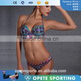 (OEM ODM FACTORY)Sexy push up straps women bikini swimwear bathing suit bikini with decorated bra