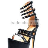 Europe Design Heels black patent leather lady peep toe spike studs beaded platform red shoes stiletto 160 mm sandals