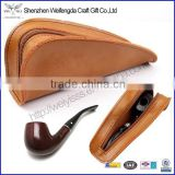 Portable Genuine Leather Single tobacco pipe holder with zipper