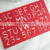 2015 New Factory Direct Sale OEM High Quality Plastic Letter Stencil Ruler school stationery