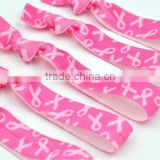 Breast Cancer Awareness Pink Ribbon Fold Over Elastic Hair Band