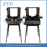 Fashion Style Mobile Travel Cosmetic Trolley Case Aluminum Lighted Makeup Train Case ZYD-HZ82804