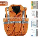 Frontier windproof work wear/ 300D oxford with PU/ 3M8906 reflective tape/ EN 471/ Hi-Vis body warmer safety vest