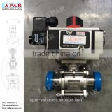 LAPAR Pneumatic Sanitary Ball Valve for food and chemical use with ISO mount plate welded male end