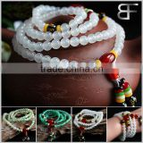 Amulets Tibetan Buddhist Vintage Style Mala Prayer Beads Natural White and Red Agate Wrist Meditation Bracelet