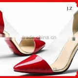 OP37 lady shoes Red color PU with PVC Comfortable Pointed Toe Low Heel Women Pump Dress Shoes