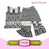 Girl Summer Shorts Outfits Children Clothing Sets Black and White Stripe Shorts kids suit