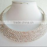 fancy white stone 7 rows artificial diamond bridal choker necklace jewelry