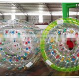 Funny water game walk on water plastic ball, PVC/'TPU inflatable water roller for sale, plastic water roller