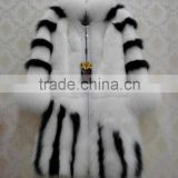 New fashion white and black color women rex rabbit fur coat with fox fur collar and cuffs