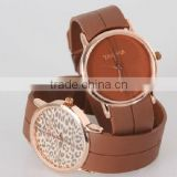 Hot 2013 vintage stud wrap genuine cow leather watch