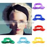 YA New Cute Girls and Women Bowknot Hairbands Turban Knot Rabbit Headband Headwrap Top Cloth Headwear Hair Accessories