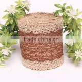 2015 New Arrival Hot Sale Vintage Natural Jute Burlap Hessian Ribbon Lace Trim Table Wedding Decor