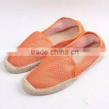 2016 latest design belly shoes factory espadrilles fashion mesh material jute sole espadrille