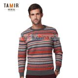 Cashmere Jacquard Stripes Sweater Knitted Pullover, Men Round Neck Colorful Striped Pullover