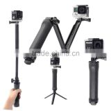 Collapsible 3 Way Monopod Mount Camera Grip Extension Arm Tripod Stand Accessories for Go pro 4 2 3 3+ 2 1 SJCAM
