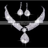 Hot sale rhinestone bridal jewelry wedding accessories diamond necklace and earring set CWFan4906