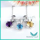 New Style Fashion 925 Sterling Sliver Pendants Charms Colors Diamond Necklace Jewelry