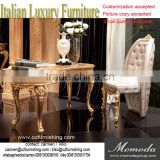 Momoda luxury fancy gold Baroque Italy antique office furniture study room desk and chair solid wood home office furniture set
