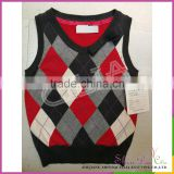 Cheap custom pretty boy 100% cotton knitting square jacquard sweater vest