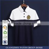 Custom White And Navy Blue Cotton School Uniform Polo Shirts