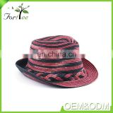 Fashion design promotion custom summer beach panama man vintage paper straw fedora sunhat