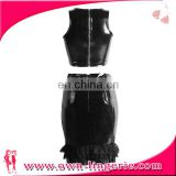 new arrival woman sexy vest leather bodysuit black lace skirt suit