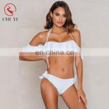 Newest fashion design high quality custom logo bikini with frills and straps tied side, swimwear OEM manufacture