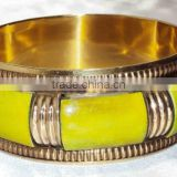 Indian Handmade Bone Brass Designer Women Bangle, Lime Green Color Bone Chips Bangle With Brass Frame 11827