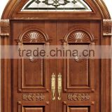 Europe Design hot sale double luxurious 100% carved solid wood door in china