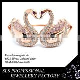 Double kiss swan bangles for lover's gifts plated rose gold 925 silver material bangles for girls