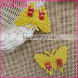 China factory cheap 5*4cm sew on DIY kids clothes accessory yellow Gold metal thread embroidery butterfly