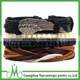 Personality fashion feather leather hemp rope bracelet with black and white wooden beaded bracelet
