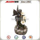 "27.6"" bronze fairy holding flower cascading water feature fountain, garden water fountains"
