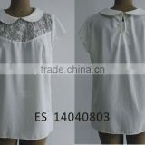Ladies summer new style decorate with lace chiffon blouse