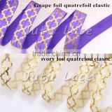 "5/8'' Foil Quatrefoil Pattern elastic belt, 5/8"" elastic ribbon baby girls skirt elastic ribbon"